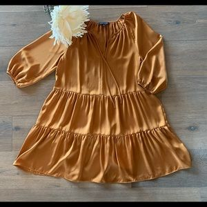 Banana Republic | Tiered Swing Dress  | Gold | XS